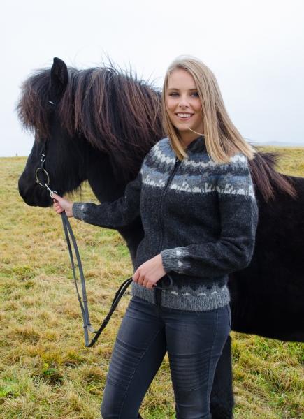 Islandstrickjacke mit Kapuze Lettlopi Nr. 2401 Pferdemotiv